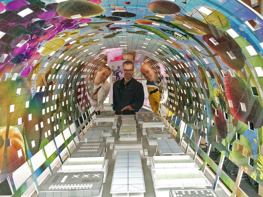 beautiful 36 000 sq ft mural decorates the markthal rotterdam in netherlands. Black Bedroom Furniture Sets. Home Design Ideas
