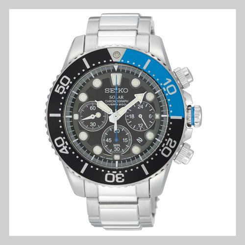 Seiko Solar Dive Stainless Steel Dive Watch (SSC017)