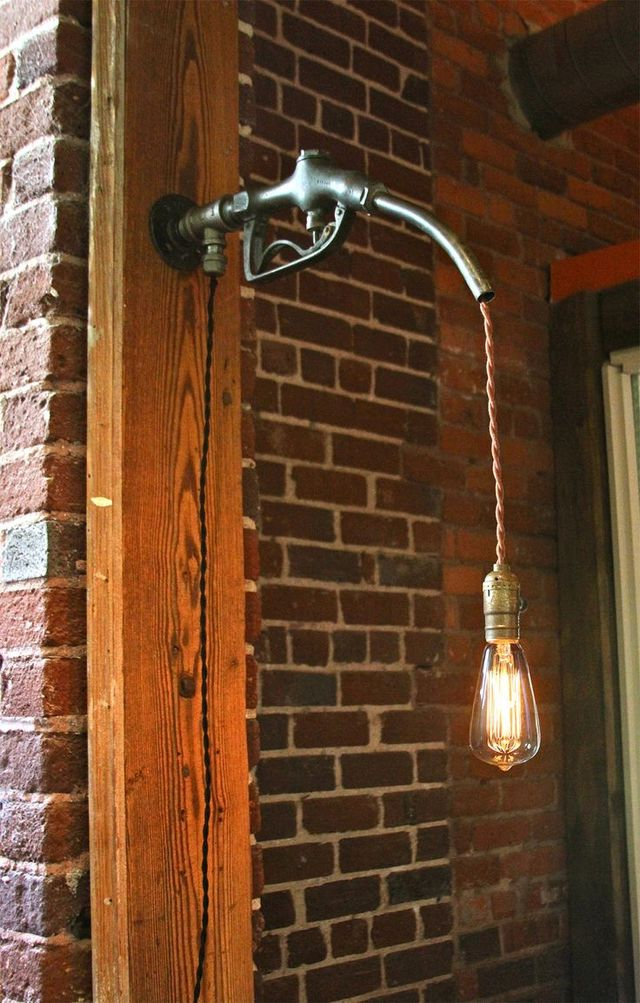 Gas pump wall lamp