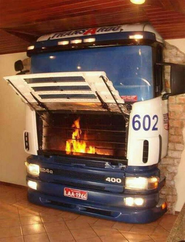 Old truck fireplace