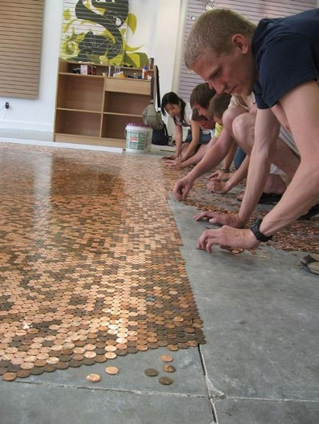 Pennies floor mosaic