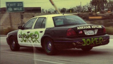 Police car vandalized by Joker