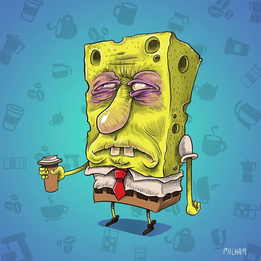 What Famous Cartoon Characters Look Like Before Morning Coffee