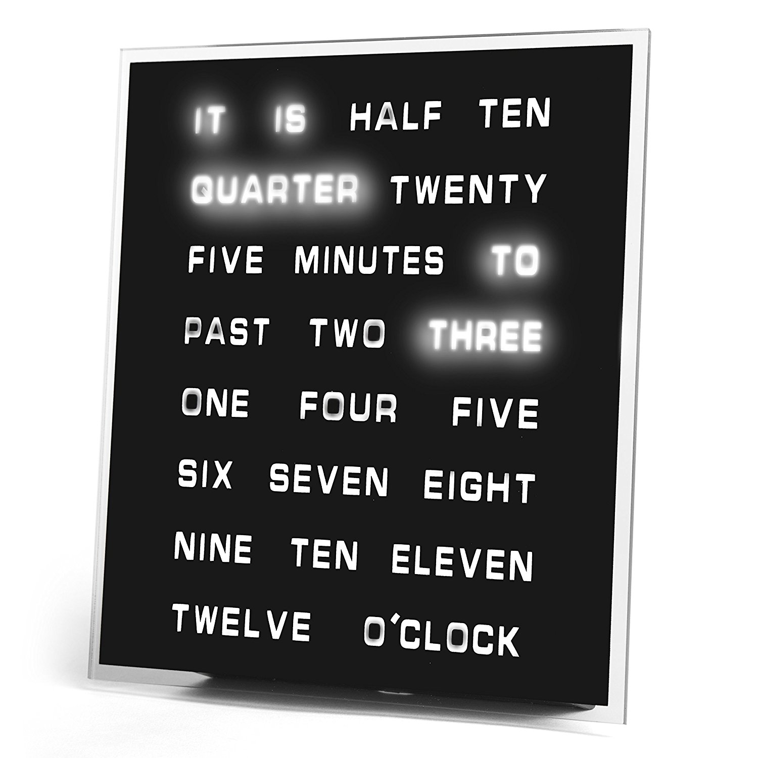 LED World Clock - Displays Time As Text - unique wall clocks