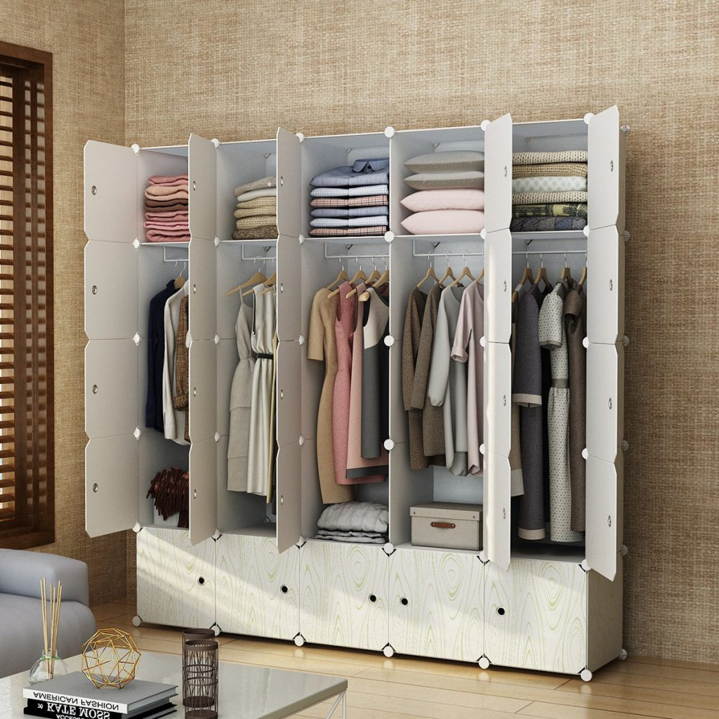MAGINELS Portable Closet Clothes Wardrobe Bedroom Armoire Storage Organizer with Doors