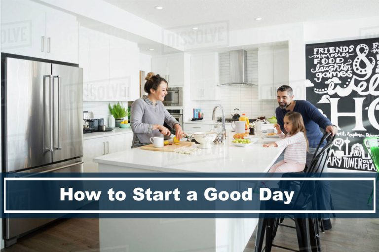how to start a good day, family in kitchen happy eating breakfast